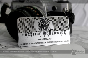 Stainless-Steel-Custom-Metal-Business-Card-with-Black-Spot-Color-and-Cutout-Camera-for-Photographer