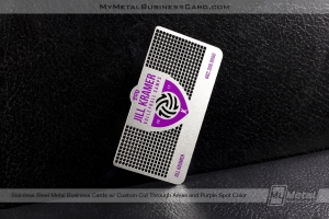 Stainless-Steel-Metal-Business-Card-For-Vollyball-Camp-Custom-Cutouts-Purple-Spot-Color