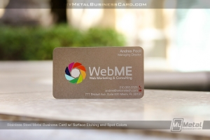 Stainles-Steel-Metal-Business-Card-With-Colorful-Rainbow-Logo-and-Surface-Etching